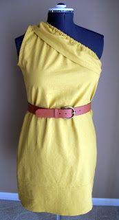 Ladies one-shoulder dress tutorial I would make it longer though.