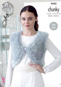 Knitted V Neck sleeveless Tinsel Boleros - King Cole Chunky Knit Cardigan, Chunky Wool, Chunky Knitting Patterns, Free Knitting, Bolero Pattern, Summer Sweaters, King Cole, Sewing, Easy