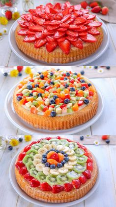 La crostata morbida di frutta è una torta soffice guarnita con crema e frutta a pezzetti. Un dolce fresco e colorato per l'estate. Vi consiglio tre idee per decorazioni con la frutta facilissime. Sweet Recipes, Cake Recipes, Dessert Recipes, Desserts, Edible Fruit Arrangements, Healthy Granola Bars, Torte Cake, Star Food, Food Platters