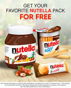 Get the Best Nutella Package! Get the Best Nutella Package! Camping Appetizers, Voucher, Chocolate Spread, Cool Things To Buy, Good Things, Hazelnut Spread, How To Cook Rice, Disney Dining, Chainsaw Chaps