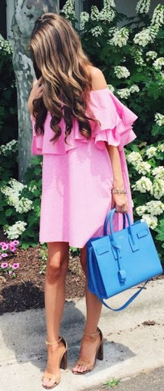 #feminine #style #summer #outfitideas | Off the Shoulder Ruffle Pink Dress + Touch of Blue