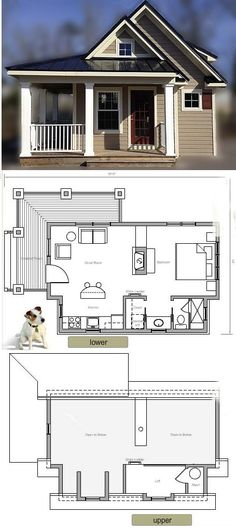 House in a Box: The Cascade. 317 sqft.I don't think any other time I have pinned this house (grin!) Ihad the floor plan as well as the square footage. I do love this cottagey looking exterior!