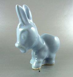 Blue Donkey Planter Small Vintage Donkey by WhatnotsAndFancifuls
