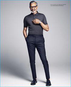 Goldblum Cuts a Sharp Figure for Icon El País Shoot Jeff Goldblum cuts a trim figure in a fitted look from Italian fashion house Prada.Jeff Goldblum cuts a trim figure in a fitted look from Italian fashion house Prada. Pantalon Slim Fit, Old Man Fashion, Gentleman Fashion, Men's Fashion, True Gentleman, Fashion Today, Gentleman Style, Fashion Black, Vintage Fashion