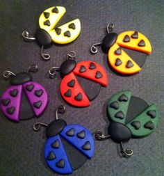 Rainbow Lucky Ladybug Magnets  Polymer Clay. via Etsy Freeheart1  Great idea for cupcakes in fondant