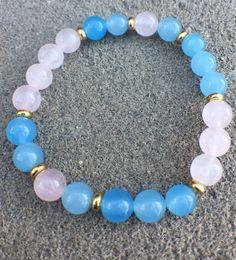 Blue Jade and Pink Quartz Bracelet by MyOhmStyle on Etsy