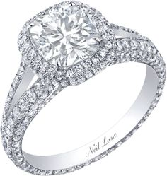 31494d6a0 Neil Lane cushion cut diamond ring surrounded by diamonds set in platinum Engagement  Rings For Men