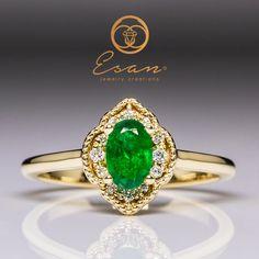 Inel de logodna cu smarald si diamante ES76 Aur, Heart Ring, Gemstone Rings, Gemstones, Jewelry, Jewellery Making, Jewerly, Gems, Jewelery