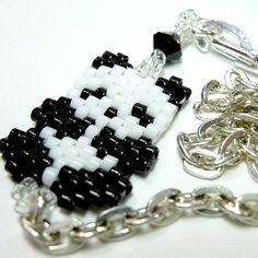 7 Beaded Panda Bracelet on Silver Tone Link Chain, Peyote stitch.