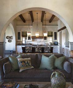 Cozy Living Room Grey Sofa w/ the white kitchen