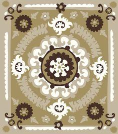 suzani recycled cotton throw tan