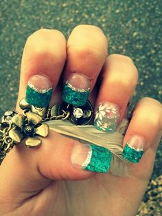 Prom nails! #blue #silver #flower #sparkle #solar #frenchtips