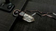 Sale / Quartz Crystal Blackened Copper Necklace / by BarestBones