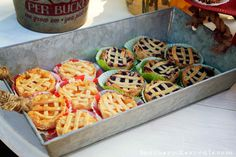 I was kind of surprised by this but the pies were my (and everyone else's) favorite part! I made each one by hand. I used the rolled refrigerated dough and canned pie filling, placed each pie into a muffin top pan and cut the lattice strips to place over each pie. An egg wash before going in the oven and sprinkling of Turbanado sugar fresh out of the over – perfection!