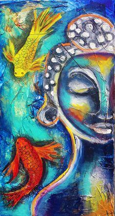 Buddha painting, buddhist art, buddha statue, mixed media, textured, buddhism, koi fish, koi tattoo, koi painting, indian, home decor, zen