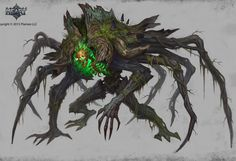 A Rootking, a horrifying being born from the corpse of a dark druid. Monsters Rpg, Cool Monsters, Dark Creatures, Mythical Creatures Art, Monster Concept Art, Monster Art, Creature Concept Art, Creature Design, Dark Fantasy Art