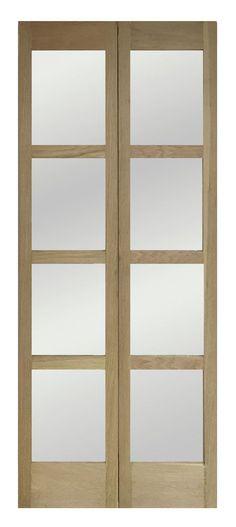 4 Panel Shaker Walnut Veneer Glazed Internal Standard Door, (H ...