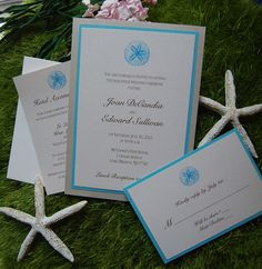 Sand Dollar Wedding Invitation - Pale Gold, Blue and White - by The Satin Bow