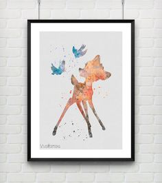 Bambi Watercolor Print Disney Deer Butterfly Kids Decor by VIVIDEDITIONS
