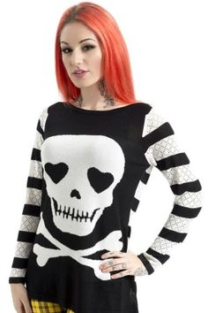 Women's Long Sleeved Love Skull Sweater #rebelcircus #rebel #circus #goth #gothic #punk #punkrock #rockabilly #psychobilly #pinup #inked #alternative #fashion  #clothing #clothes #style #retro #style #rock #grunge