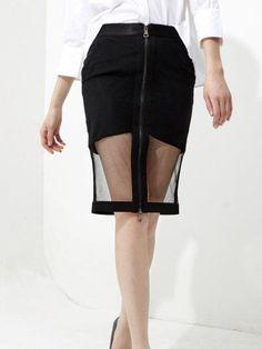 Black Statement Plain Zipper Midi Skirt