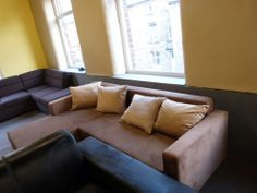 Ex-Display Light Brown Corner Sofa Bed - made of Stain Resistant Fabric