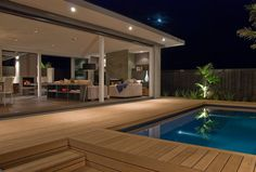 The brief for this house was Modern clean lines with seamless indoor outdoor flow. The conversation pit is an icon from the that we wanted to bring back. Beach House Exterior, Home Fountain, House Exterior, German Houses, House Design, Cottage Homes, House Designs Exterior, House Yard, Timber Pergola