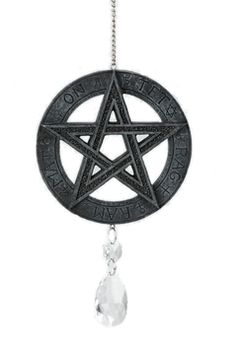 Hanging Pentacle Ornament Dreamcatcher With Crystals Wicca Pagan Pentagram Pagan Witchcraft, Magick, Dark Knight Armory, Wiccan Jewelry, Beautiful Posters, Pentacle, Book Of Shadows, Occult, Wall Art Decor