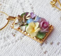 Shabby and Chic Pastel Flowers Vintage Jewelry Pieces Collage / Montage Pendant / Necklace