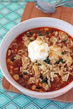 Slow-Cooker Ground Beef ; Rice Enchilada Soup# slow cooker healthy recipes. For dad and brother