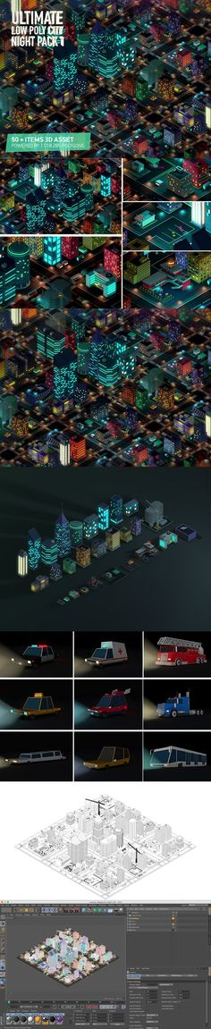 Ultimate Low Poly City Night Pack 1. 3D Architecture