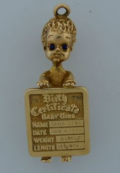 Adorable c.1950s YELLOW GOLD SAPPHIRE BABY GIRL BIRTH CERTIFICATE PENDANT  CHARM ~ 11.1 grams