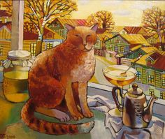 Cat in the window painting. Olga Trushnikova - Honey Cat
