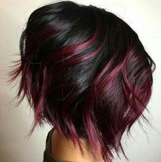 The most popular highlights for dark hair are light brown or caramel balayage, but there are no limits on color for a balayage hairstyle. Look below for the top balayage for dark hair to find your inspiration. Red Hair Color, Cool Hair Color, Black Cherry Hair Color, Red Color, Red Black Hair, Edgy Hair Colors, Cherry Brown Hair, Magenta Hair, Violet Hair