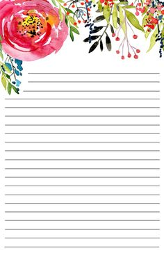 Free Printable Floral Stationery - Paper Trail Design Free Printable Floral Stationery with or without lines. Diy Stationery Paper, Free Printable Stationery, Stationery Templates, Templates Printable Free, Printable Frames, Paper Templates, Printable Lined Paper, Printable Scrapbook Paper, Writing Paper