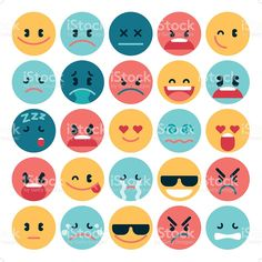 A set of 25 simple flat emoticon in various expression. All objects. Free Vector Art, Emoticon, Image Now, Art World, Royalty, Objects, Flats, Simple, Etsy