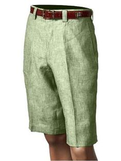 SKU#SM862 Mens Inserch/Merc Pleated 100% Linen Flat Front Shorts Green