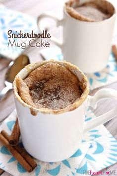 Snickerdoodle Mug Cake ~ bakes up in the microwave in just one minute, yielding a warm, cinnamon-sugary treat that will satisfy any sweet tooth! | FiveHeartHome.com