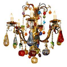 Italy Multicolor hand-blown Murano glass/gilded iron chandelier 20th century h25diam26