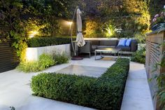 Contemporary small garden designs for modern backyard with outdoor furniture