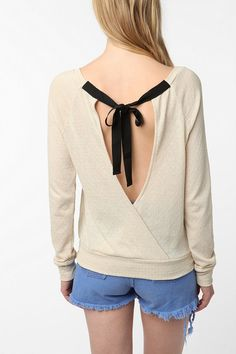 Pins & Needles Pointelle Open-Back Tie Sweater - Urban Outfitters
