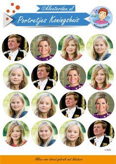 Portretjes voor de feestmuts bij thema koningsdag , kleuteridee.nl,  free printable.