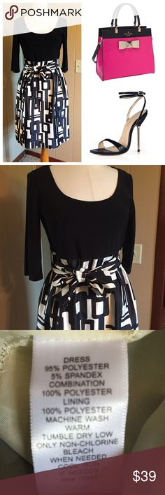 "Stunning Jessica Howard dress Black with black and white print. Large tie belt included. Skirt area is lined so no slip needed. Size 12 GORGEOUS  excellent condition and quality. Bundle to save!! From shoulder to hem 37.5"" side zipper. Jessica Howard Dresses Midi"