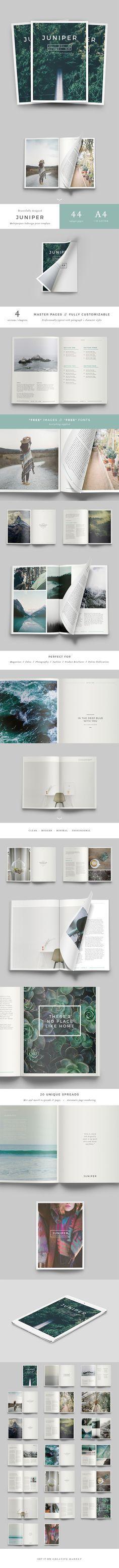J U N I P E R Magazine / Portfolio  Book Design https://creativemarket.com/Forty6and2/515976-J-U-N-I-P-E-R-Magazine-Portfolio?u=Forty6and2