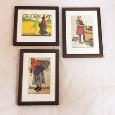 "Black Framed ""East Coast Types"" from the Golden Age of Rail Travel $25 each"
