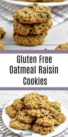 These Gluten Free Oatmeal Raisin Cookies are filled with raisins and lots of oats. Theyre soft chewy and impossible to resist! Gluten Free Sugar Cookies, Gluten Free Cookie Recipes, Gluten Free Sweets, Gluten Free Baking, Oatmeal Rasin Cookie Recipe, Oatmeal Cookies, Sugar Free Oatmeal, Gluten Free Christmas Recipes, Raisin Cookies