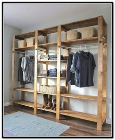 Exceptionnel Traditional Bedroom With Unfinished Wood Closet Organizer, Light Blue Rug,  And Six Shelving Wooden Closet, 10 Designs In Cheap Closet Organizers  Gallery