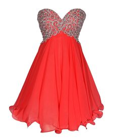 Dresses for Teenage Girls | Cheap short stunning coral and silver prom dresses junior, teens prom ...