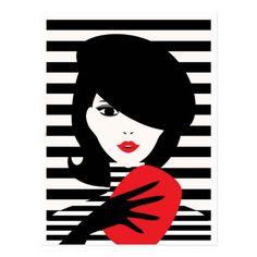 Fashion Illustration ESZAdesign Fashion french stylish illustration template postcard - Shop Fashion french stylish fashion illustration postcard created by vintage_art_fashion. Personalize it with photos Pop Art Illustration, Guache, Art Sketchbook, Illustrations Posters, Fashion Illustrations, Easy Drawings, Creative Art, Vintage Art, Design Art
