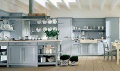Design de cuisine rétro en bleu